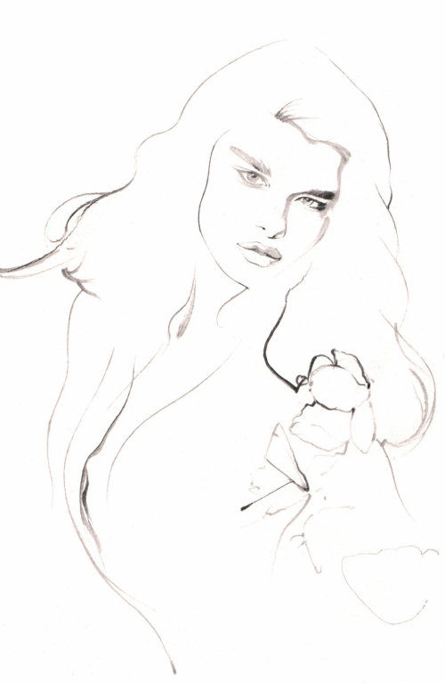 Line illustration of female model