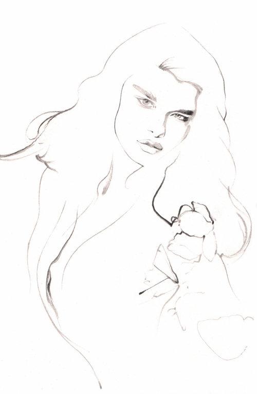 Illustration de la ligne du modèle féminin