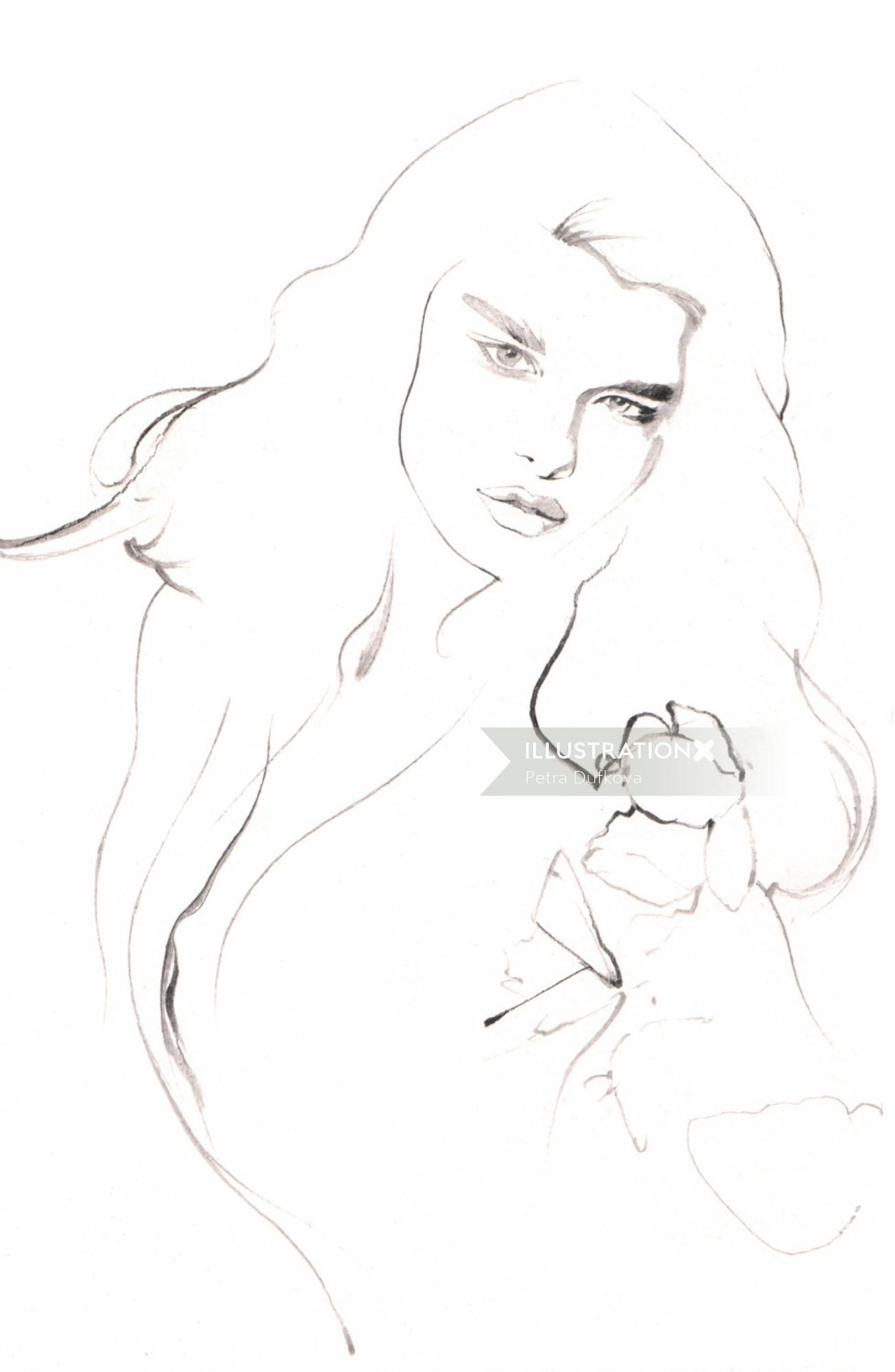Line illustration of female model