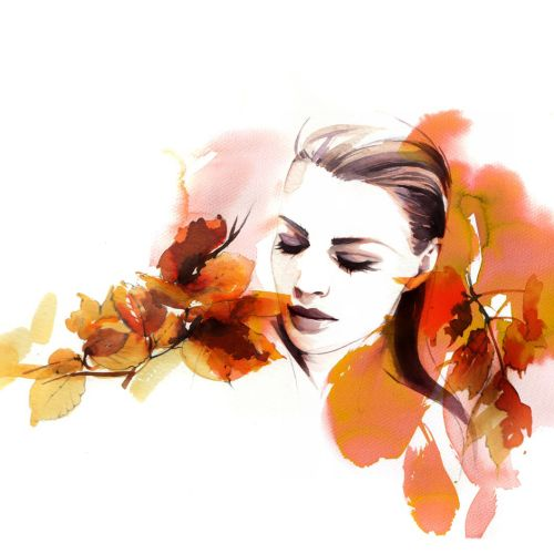 Watercolor  woman with leaves