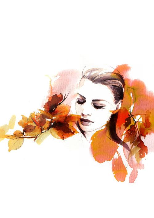Femme aquarelle avec des feuilles