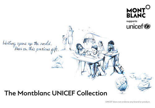 watercolor illustration of MontBlanc for unicef