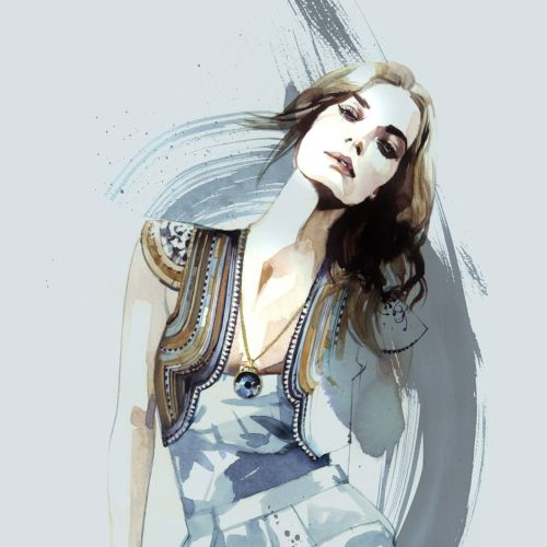 Painting of fashion girl
