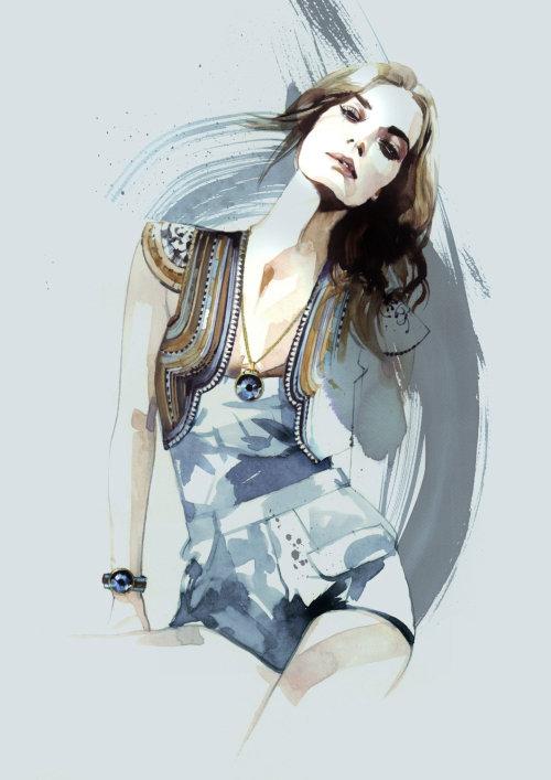 Peinture de fille de mode