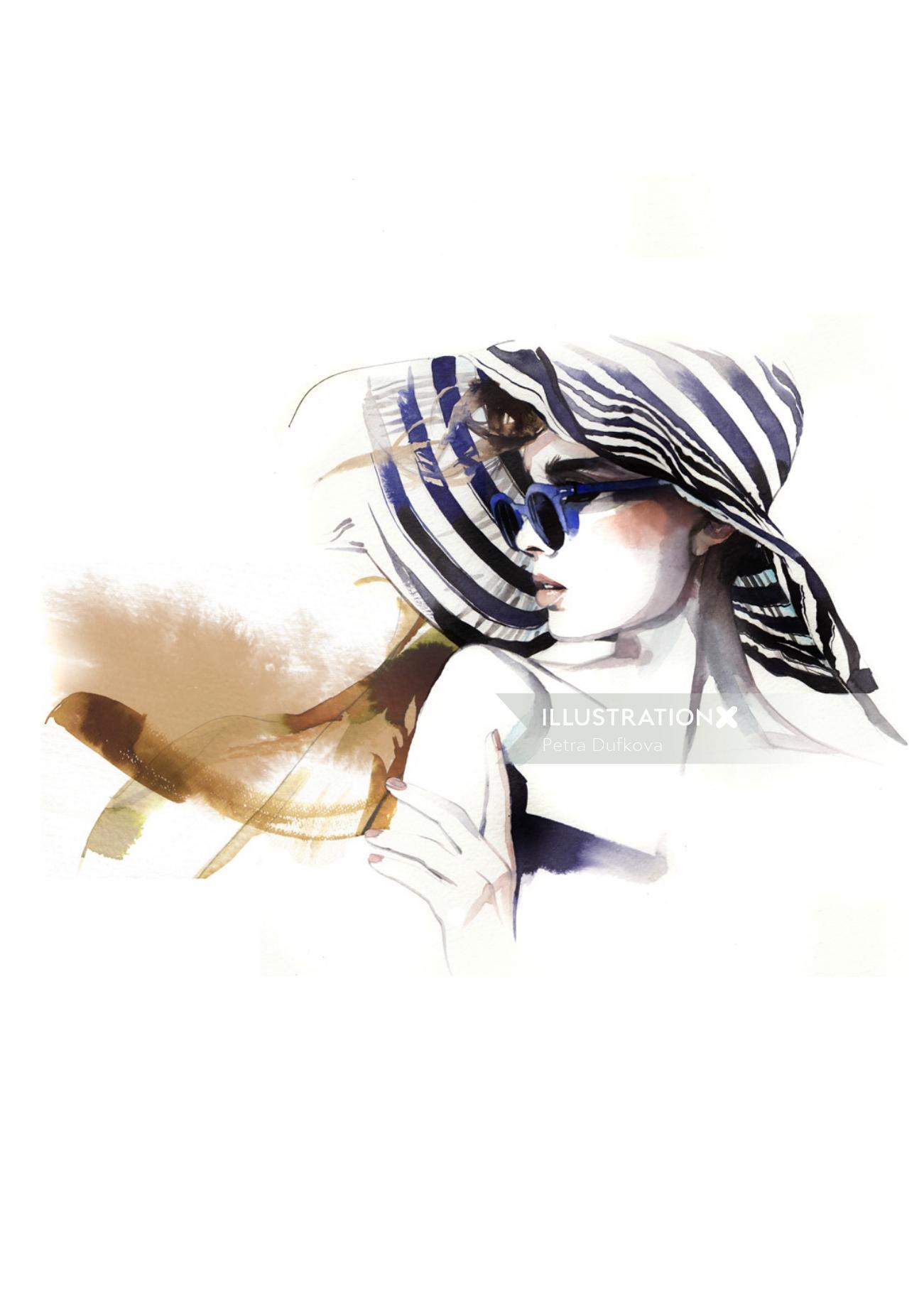 Beauty illustration stylish woman