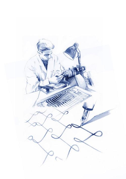 illustration aquarelle d'un expert en calligraphie