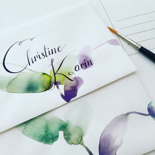 watercolor lettering christine karin