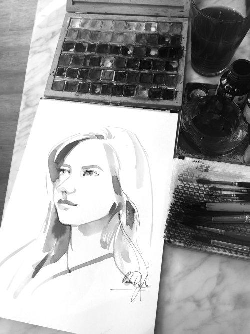 peinture en direct aquarelle de femme