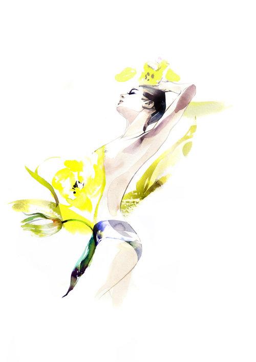 Peinture à l'aquarelle de femme avec des fleurs couvertes