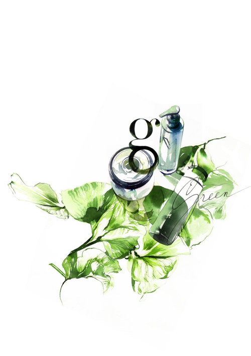 watercolor illustration of nature serum