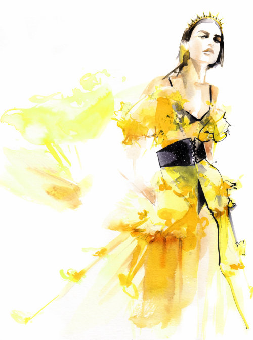 Fashion luxe of woman in yellow dress