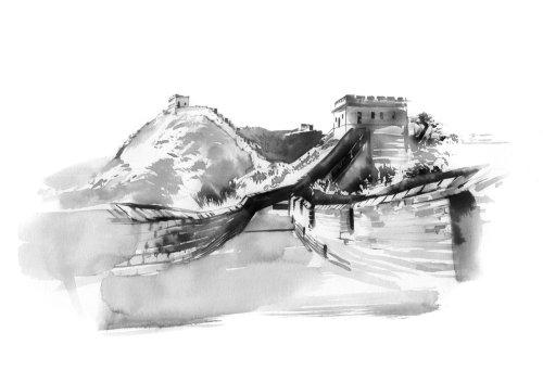 watercolor art of china wall