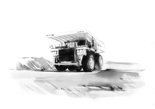 watercolor art of trucker