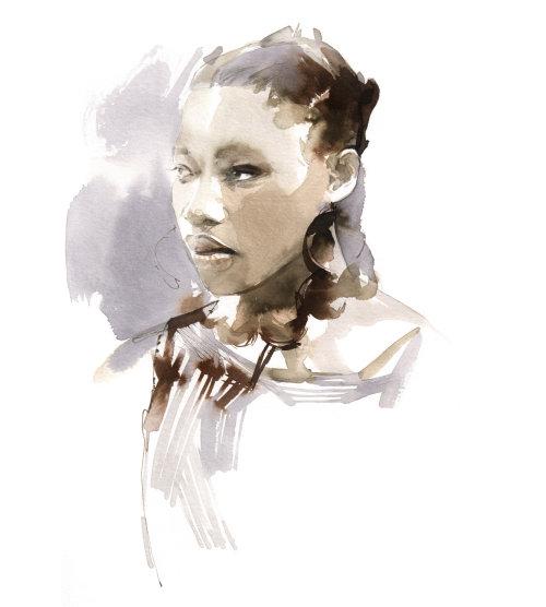 watercolor art of fashion girl