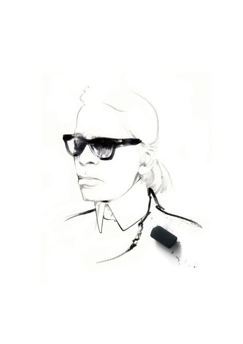 Lineart of woman with black glasses