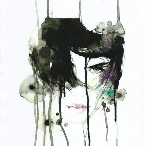 watercolor illustration stylish female model