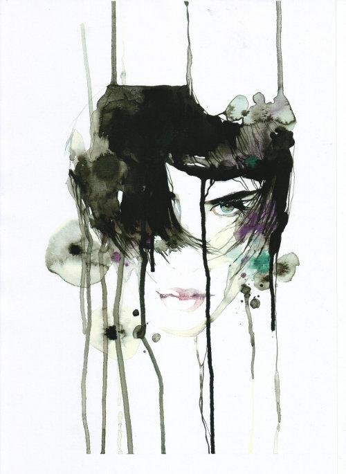 modèle féminin élégant illustration aquarelle