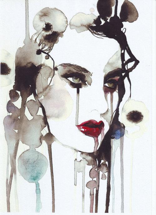 beauté de la mode avec des lèvres rouges