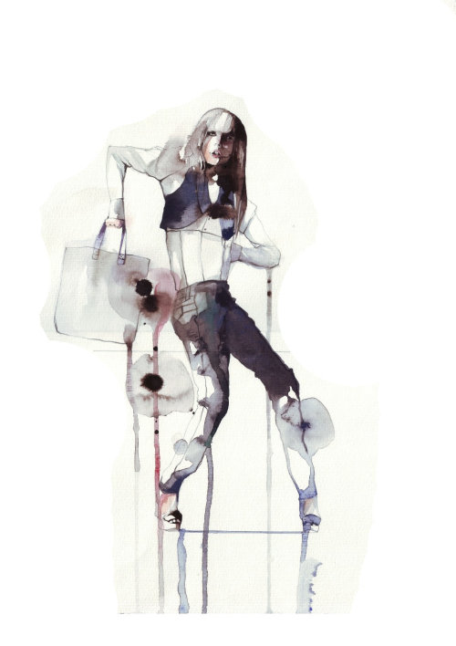 Fashion Illustration of woman model with bag