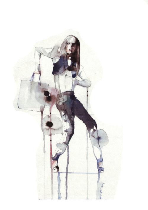 Illustration de mode du modèle femme avec sac