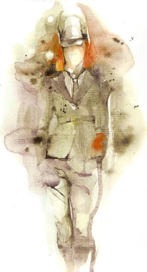 Fashion watercolor model