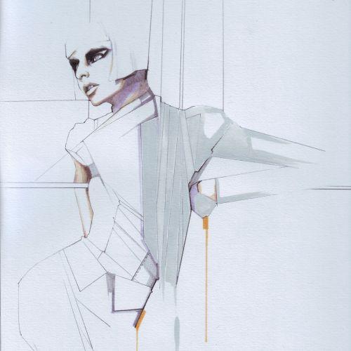 Beauty line illustration of woman