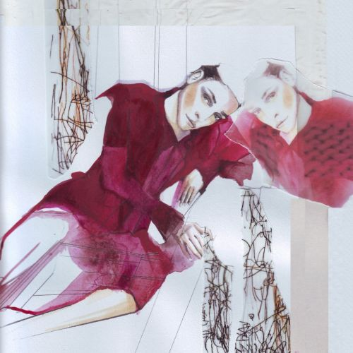 watercolor illustration of model posing in red