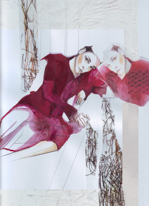 illustration aquarelle du modèle posant en rouge
