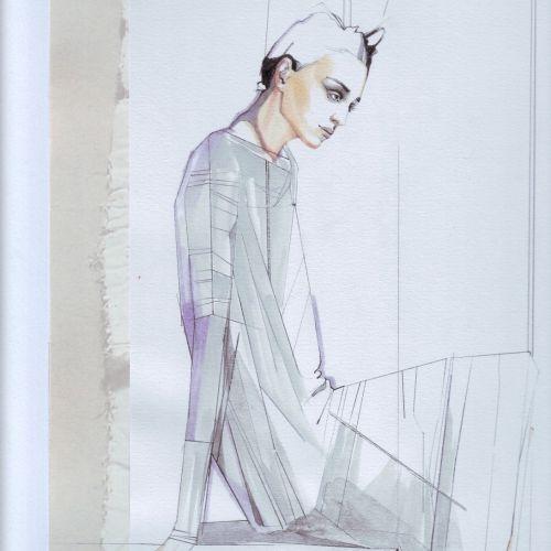 watercolor illustration of female model