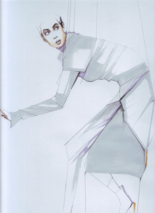 Fashion Line illustration of woman with strings