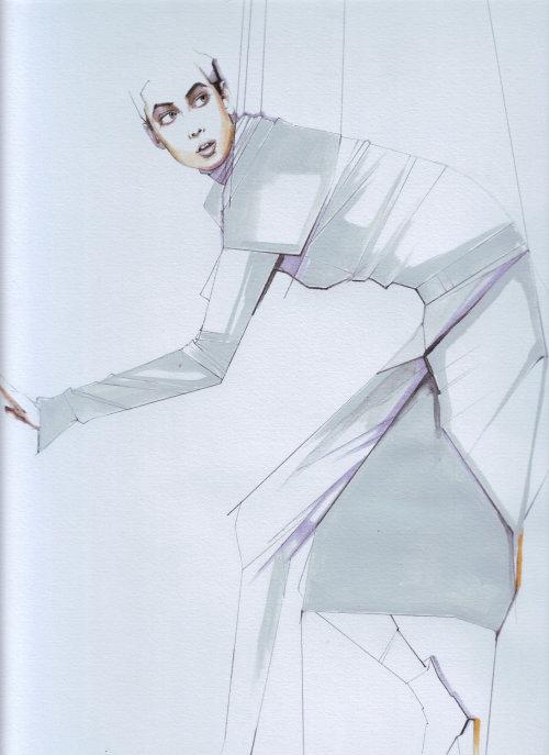 Illustration de la ligne de mode de femme avec des cordes