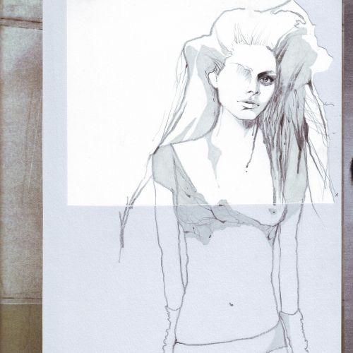 Line illustraion of a female model