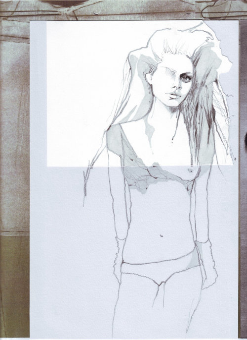 Line illustraion of a female model