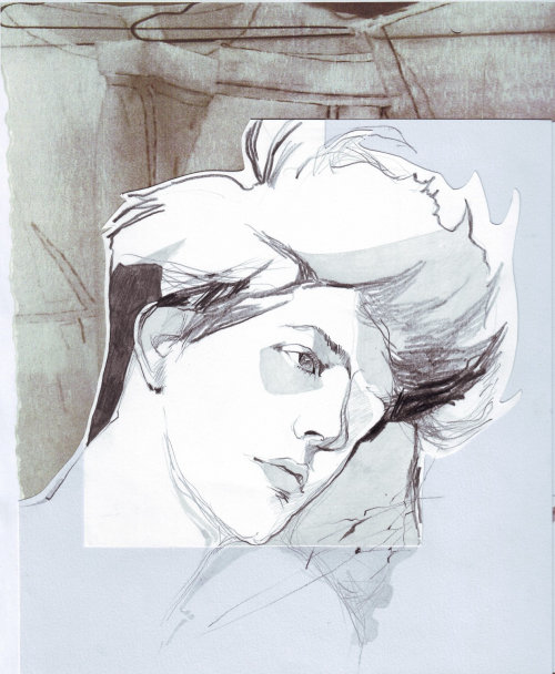 watercolor illustration of male model
