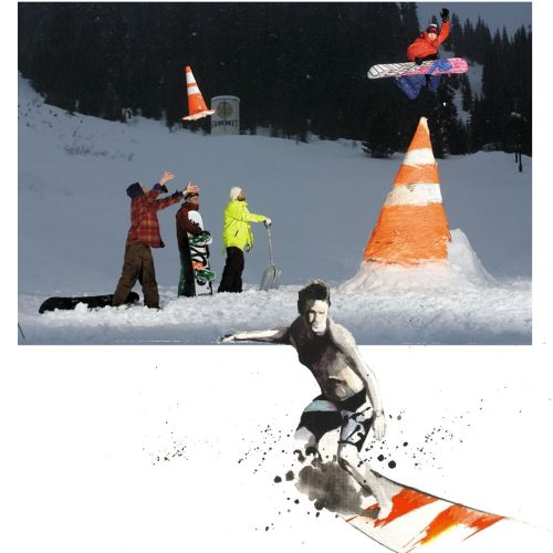 People skiing in snowy mountain