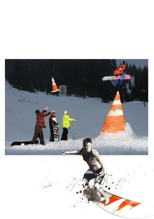Les gens skient dans la montagne enneigée