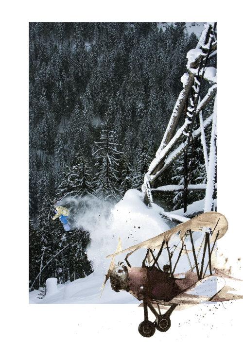 Illustration technique d'un avion en montagne enneigée