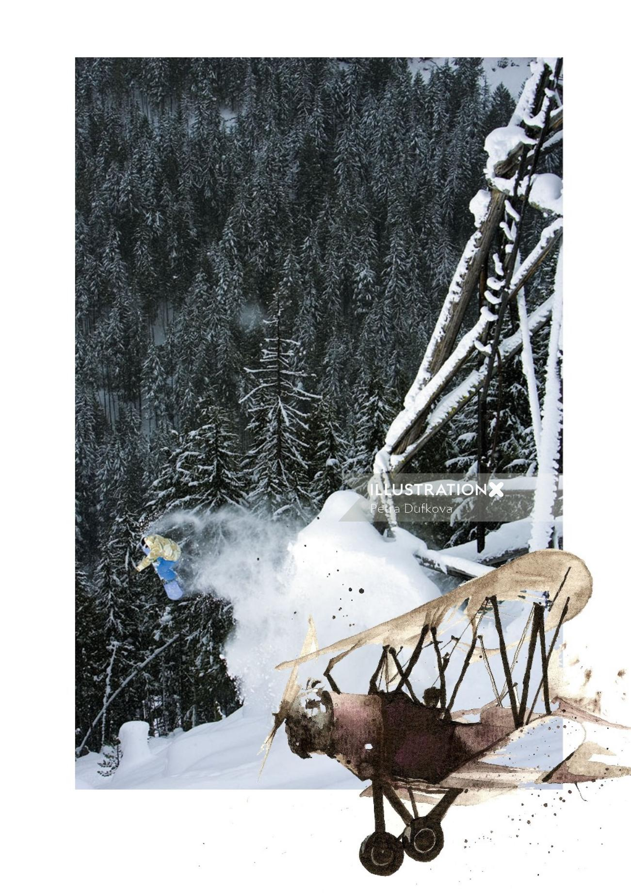 Technical illustration of a plane in snowy mountain