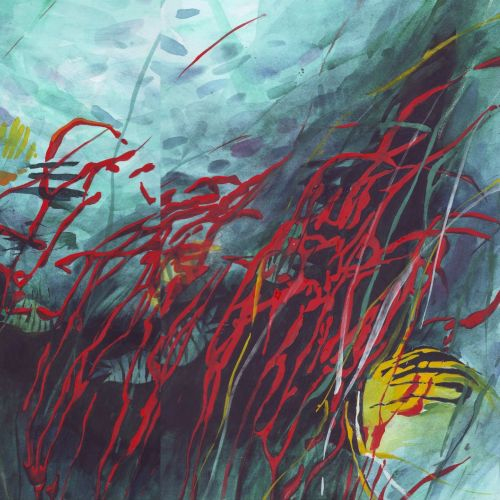 watercolor illustration of underwater corals