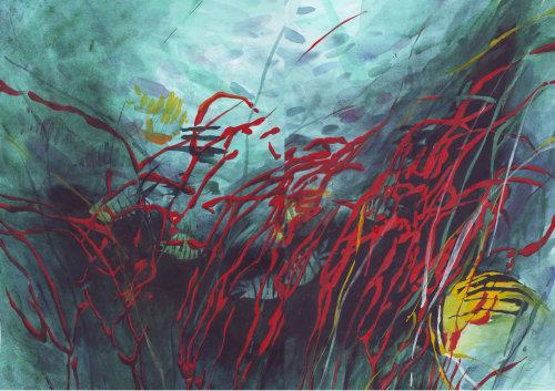 illustration aquarelle de coraux sous-marins