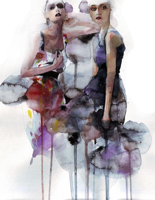 Mode féminine, illustration de coup de pinceau