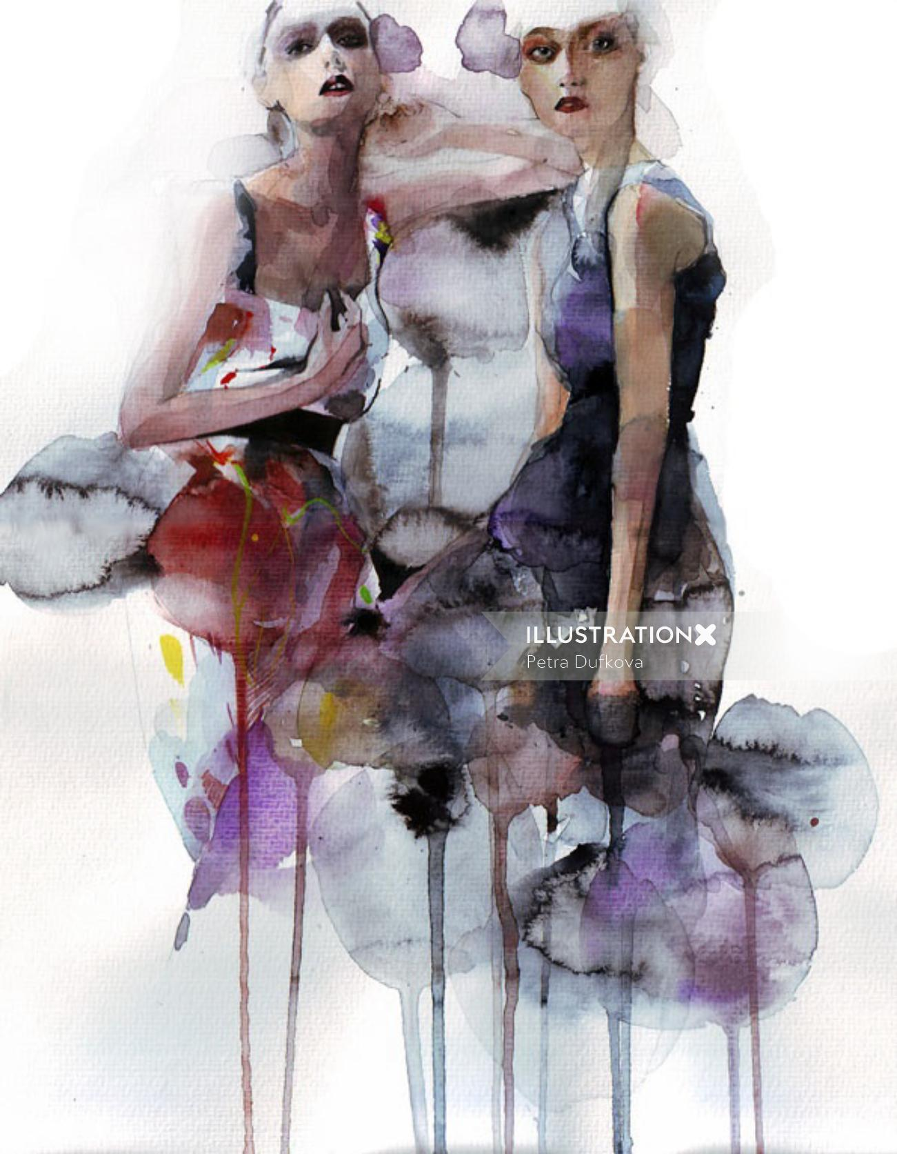 Women fashion,  brush stroke illustration