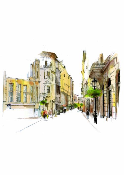 bâtiments d'architecture aquarelle dans la rue