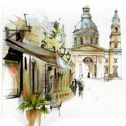 watercolor architecture city buildings