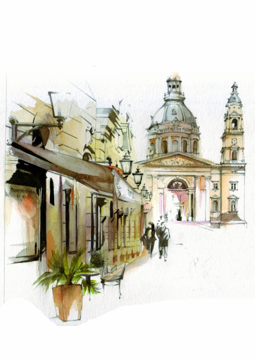 watercolor architecture city buildings