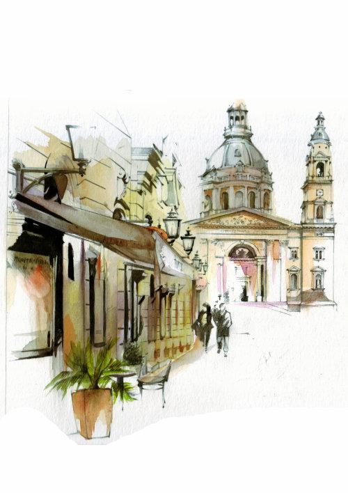bâtiments de la ville architecture aquarelle
