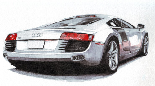 Technical illustration of an audi car