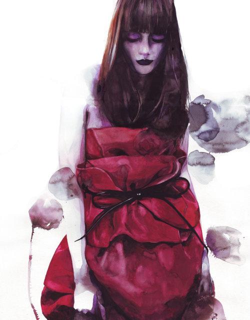Illustration de la beauté de la femme en robe rouge