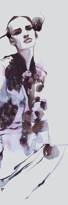 Modèle d'illustration d'encre avec un design floral