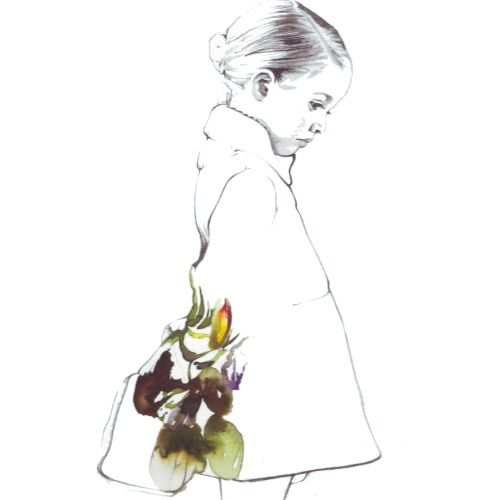 Line illustration of woman with flowers